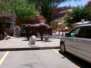 Hole in the rock- Utah, bull made out of metal