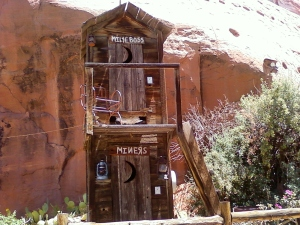Hole in the rock- Utah, is this how we feel that our boss does to us - the double decker outhouse