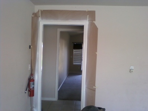 this is after it was taping off and  painting was done on the trim.